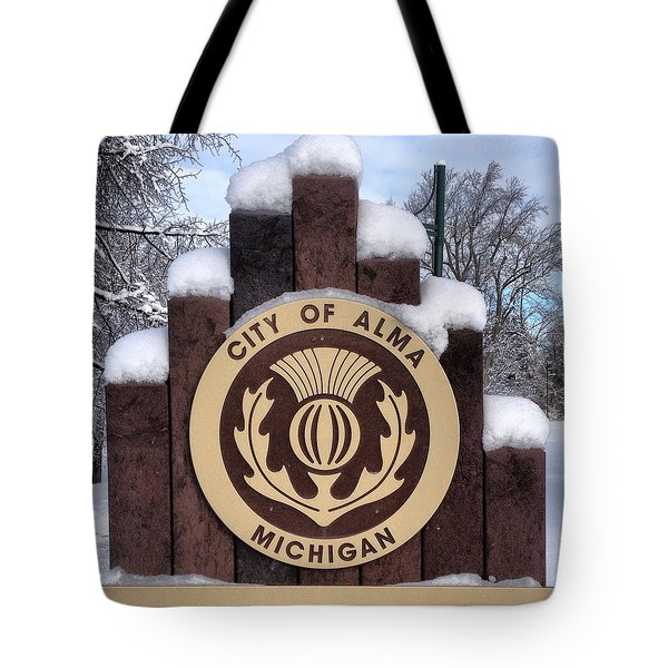 City Of Alma Michigan Snow Tote Bag