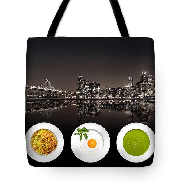 Tote Bag featuring the digital art City Of Cultural Cuisines by ISAW Company