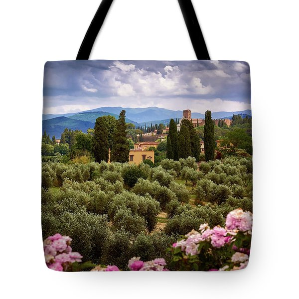 Tuscan Landscape With Roses And Mountains In Florence, Italy Tote Bag