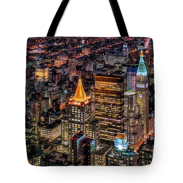 City Of Lights - Nyc Tote Bag by Rafael Quirindongo