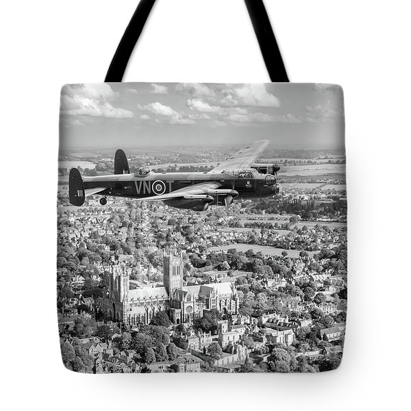 Tote Bag featuring the photograph City Of Lincoln Vn-t Over The City Of Lincoln Bw Version by Gary Eason
