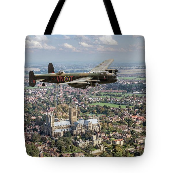 Tote Bag featuring the photograph City Of Lincoln Vn-t Over The City Of Lincoln by Gary Eason