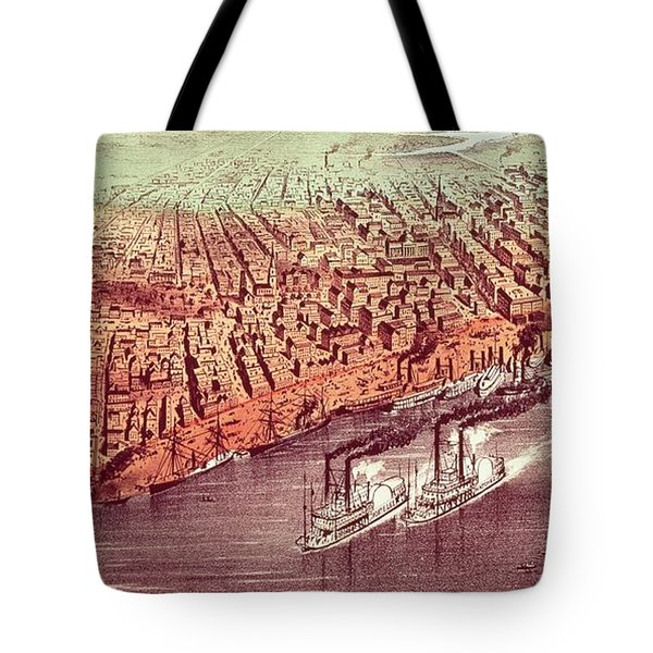 City Of New Orleans Tote Bag by Currier and Ives