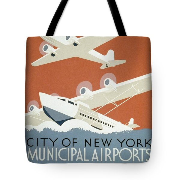 City Of New York Municipal Airports Tote Bag by Christopher DeNoon