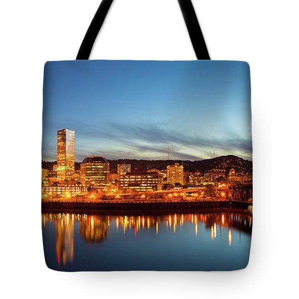 City Of Portland Skyline Blue Hour Panorama Tote Bag by David Gn