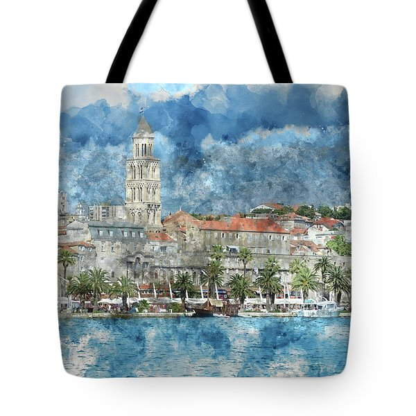 City Of Split In Croatia With Birds Flying In The Sky Tote Bag