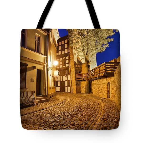 City Of Torun At Night Tote Bag