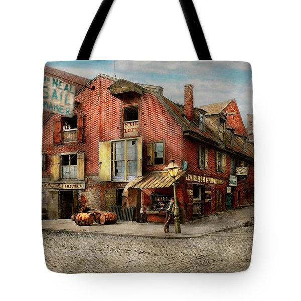 Tote Bag featuring the photograph City - Pa - Fish And Provisions 1898 by Mike Savad