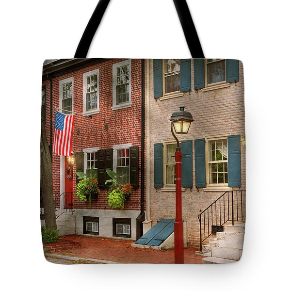 Tote Bag featuring the photograph City - Pa Philadelphia - American Townhouse by Mike Savad