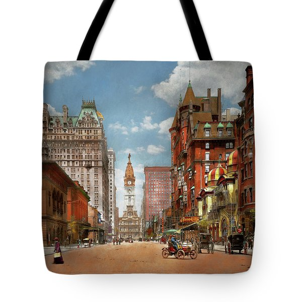 Tote Bag featuring the photograph City - Pa Philadelphia - Broad Street 1905 by Mike Savad