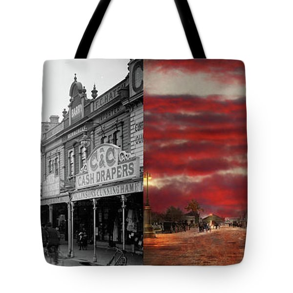 Tote Bag featuring the photograph City - Palmerston North Nz - The Shopping District 1908 - Side By Side by Mike Savad