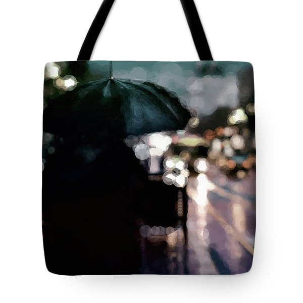 Tote Bag featuring the mixed media City Rain by Susan Maxwell Schmidt