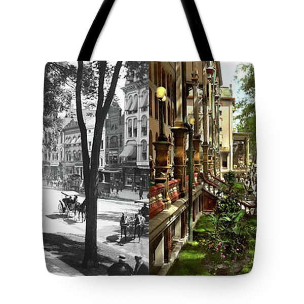 Tote Bag featuring the photograph City - Saratoga Ny -  I Would Love To Be On Broadway 1915 - Side By Side by Mike Savad