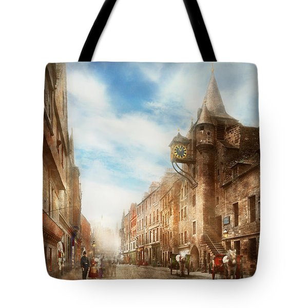Tote Bag featuring the photograph City - Scotland - Tolbooth Operator 1865 by Mike Savad