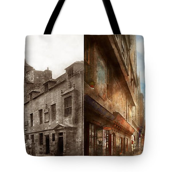Tote Bag featuring the photograph City - Scotland - Tolbooth Operator 1865 - Side By Side by Mike Savad