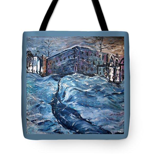 City Snow Storm Tote Bag