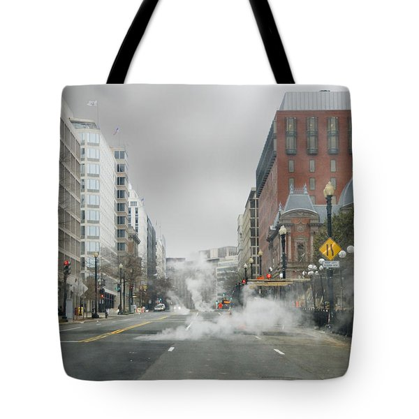 Tote Bag featuring the photograph City Street On A Rainy Day by Francesa Miller