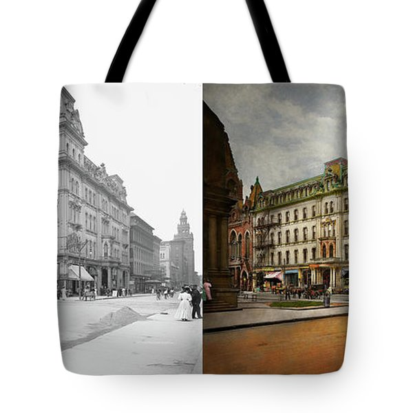 Tote Bag featuring the photograph City - Toledo Oh - Got A Boody Call 1910 - Side By Side by Mike Savad