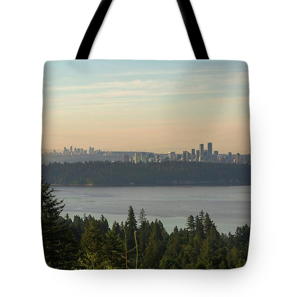 City View Of Vancouver And Burnaby Bc Tote Bag by David Gn