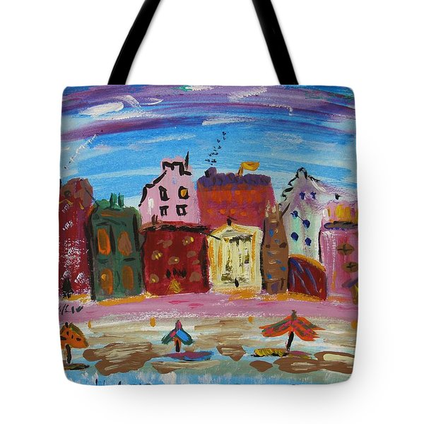 City With A Pink Boardwalk Tote Bag by Mary Carol Williams