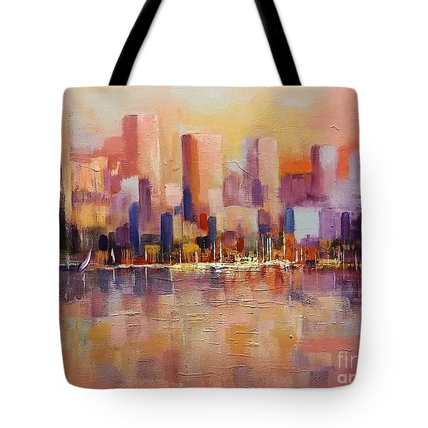 Tote Bag featuring the painting Cityscape 2 by Rosario Piazza