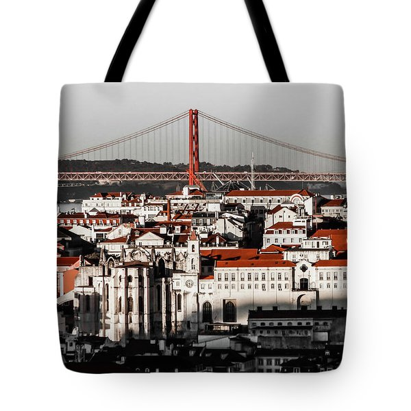 Lisbon In Black, White And Red Tote Bag