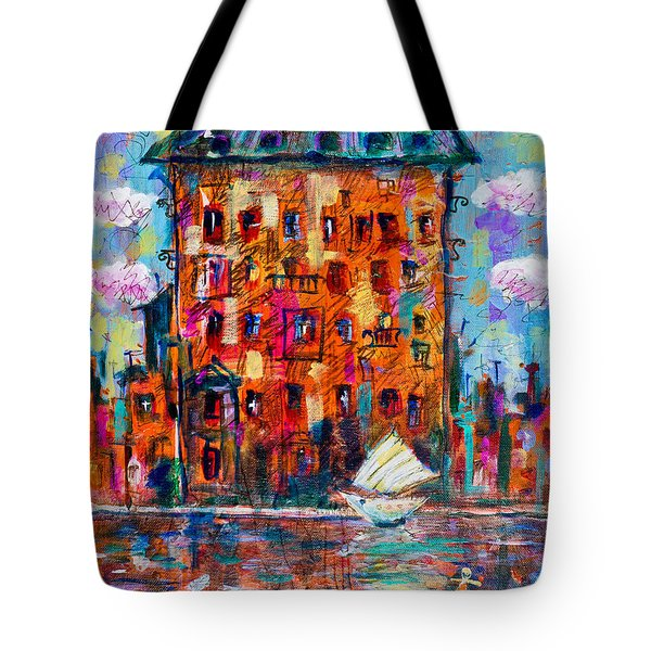 Cityscape With A Sailing Boat Tote Bag