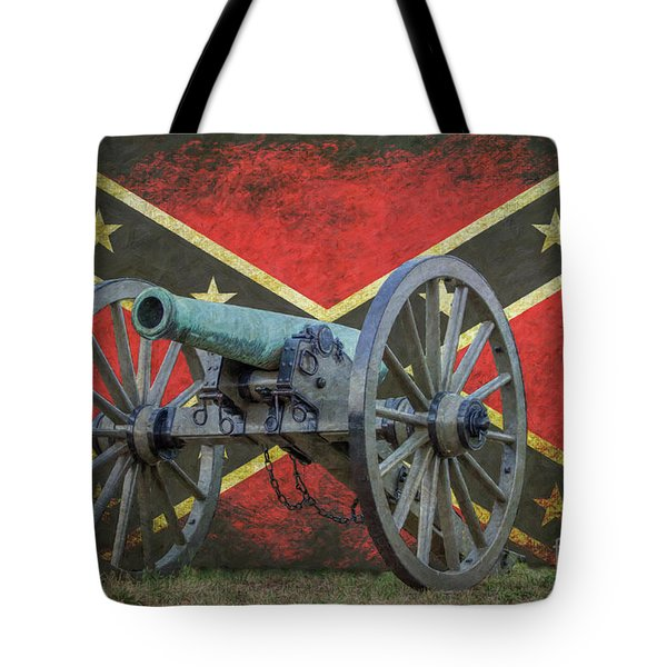 Civil War Cannon Rebel Flag Tote Bag