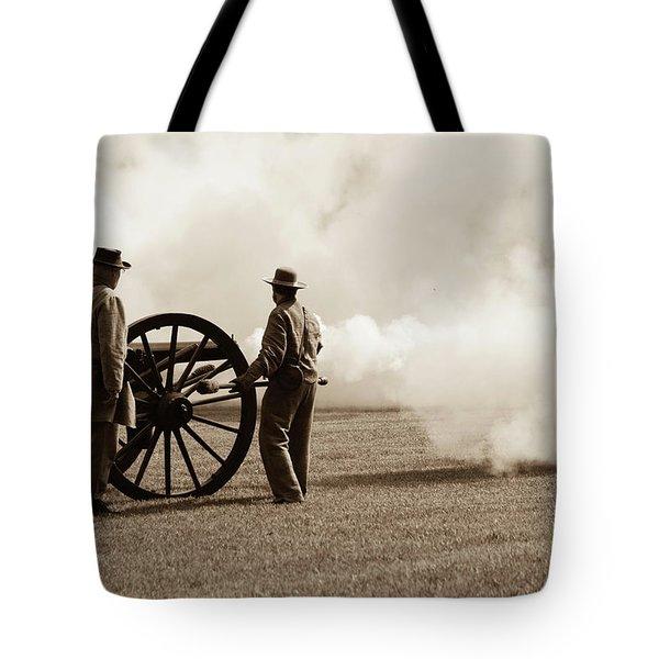 Civil War Era Cannon Firing  Tote Bag