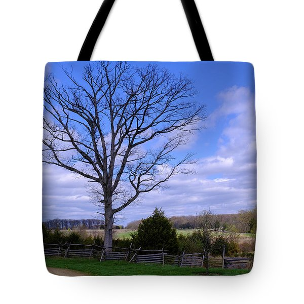 Civil War Fence And Tree With No Leaves Next In Gettysburg Penns Tote Bag