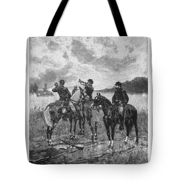 Civil War Soldiers On Horseback Tote Bag