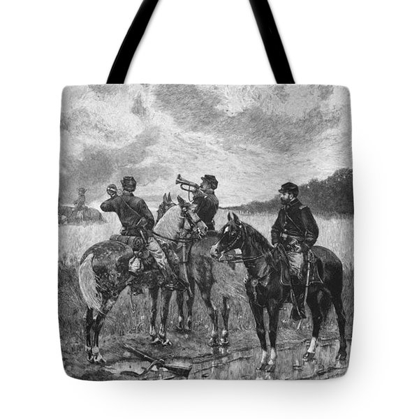 Civil War Soldiers On Horseback Tote Bag by War Is Hell Store