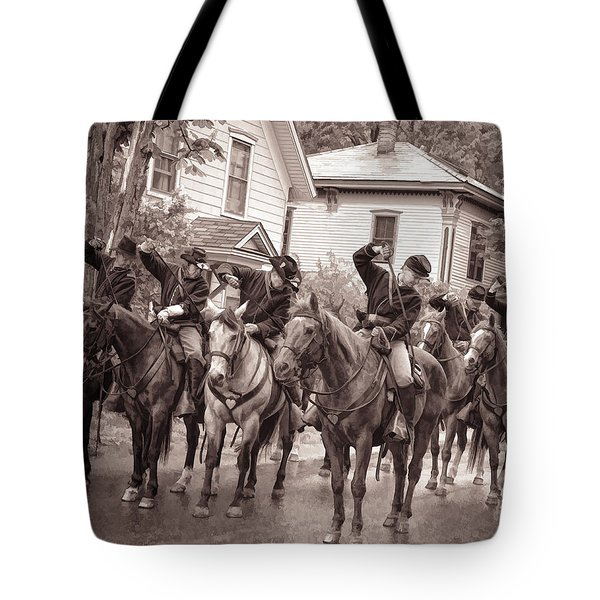 Civil War Soldiers On Horses Tote Bag