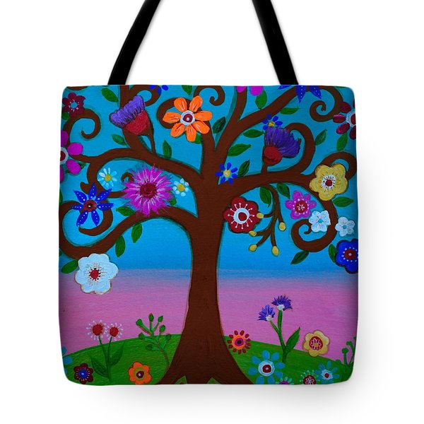 Tote Bag featuring the painting Cj's Tree by Pristine Cartera Turkus