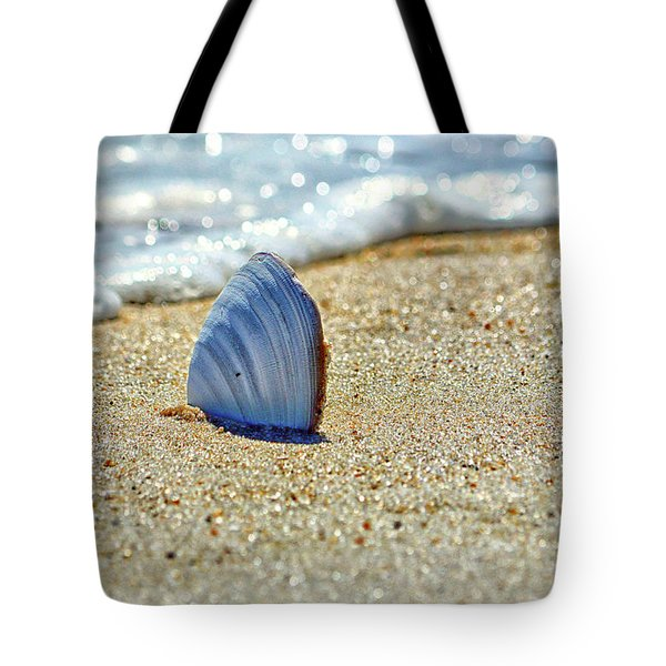 Tote Bag featuring the photograph Clamshell In The Waves On Assateague Island by Assateague Pony Photography