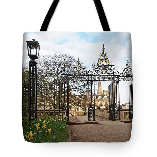 Tote Bag featuring the photograph Clare College Gate Cambridge by Gill Billington