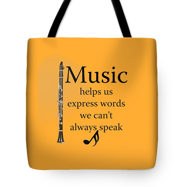 Clarinet Music Expresses Words Tote Bag by M K  Miller