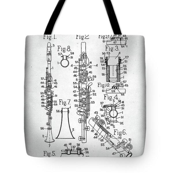 Tote Bag featuring the digital art Clarinet Patent by Taylan Apukovska