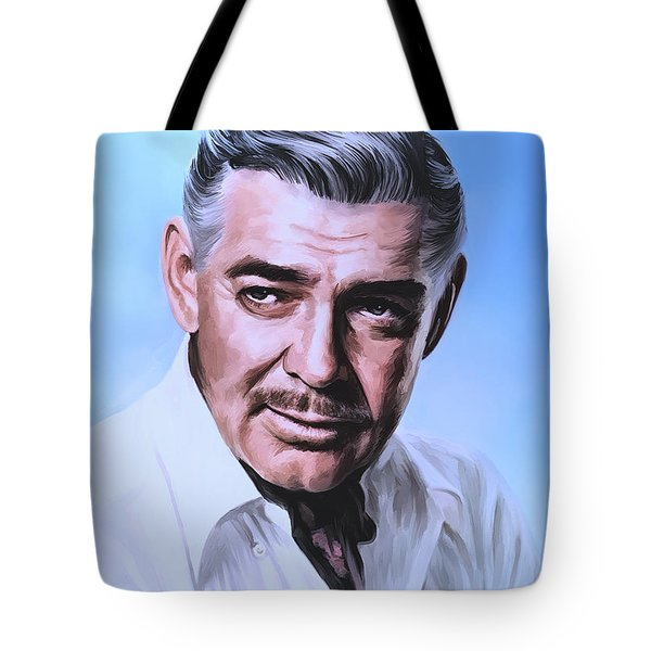 Tote Bag featuring the painting  Clark Gable 2 by Andrzej Szczerski