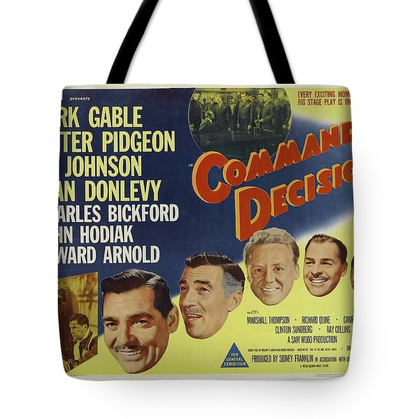 Tote Bag featuring the photograph Clark Gable Movie Poster Command Decision by R Muirhead Art