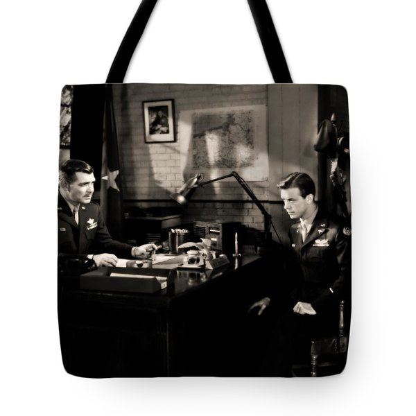 Tote Bag featuring the photograph Clark Gable Staring In Command Decision by R Muirhead Art