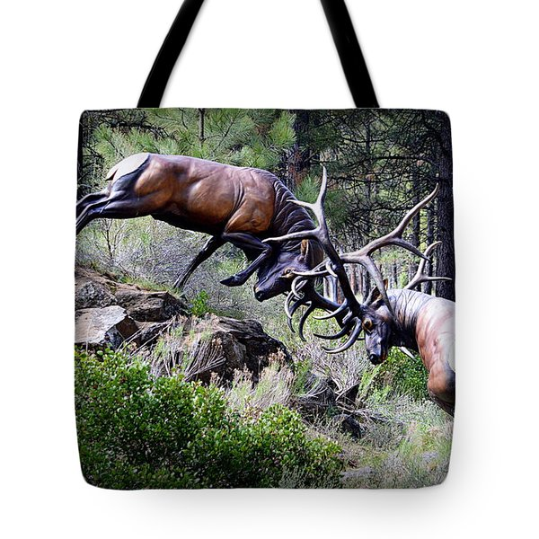 Tote Bag featuring the photograph Clash Of The Titans by AJ Schibig