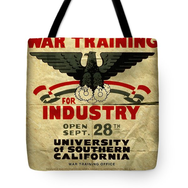 Classes In War Training For Industry - Vintage Poster Folded Tote Bag