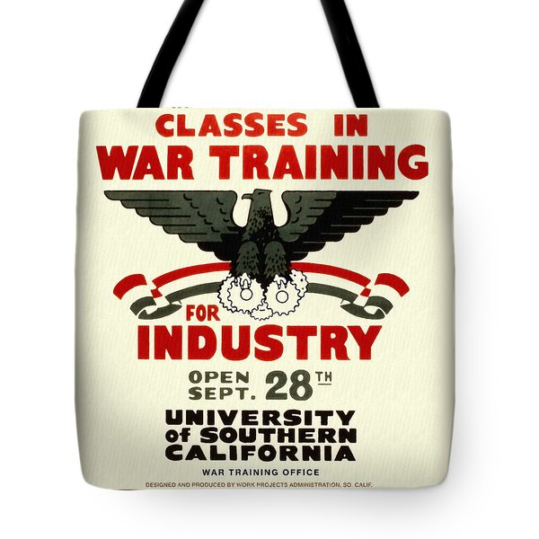 Classes In War Training For Industry - Vintage Poster Restored Tote Bag