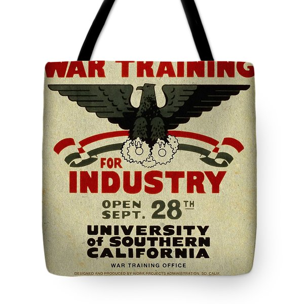 Classes In War Training For Industry - Vintage Poster Vintagelized Tote Bag