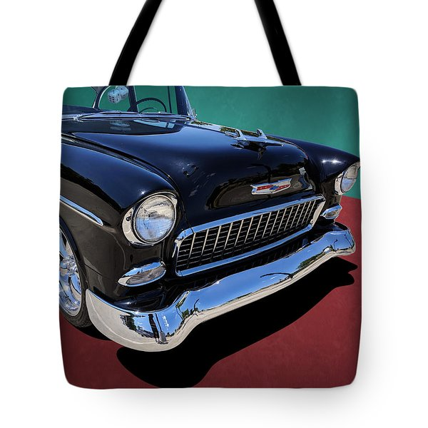 Classic Black And White 1950s Chevy Bel Air Tote Bag