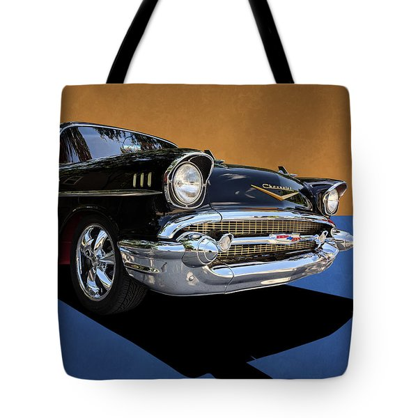 Classic Black Chevy Bel Air With Gold Trim Tote Bag