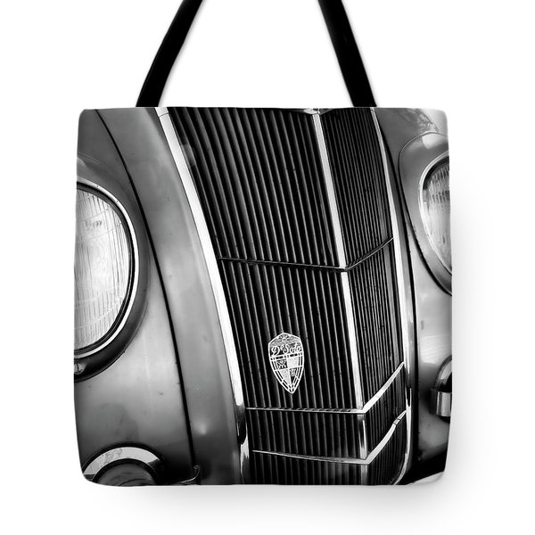 Tote Bag featuring the photograph Classic Car Grill 1935 Desoto - Photography by Ann Powell