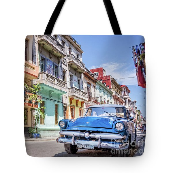 Classic Car In Havana, Cuba Tote Bag