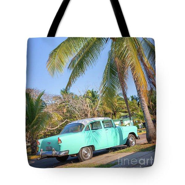 Classic Car In Playa Larga Tote Bag